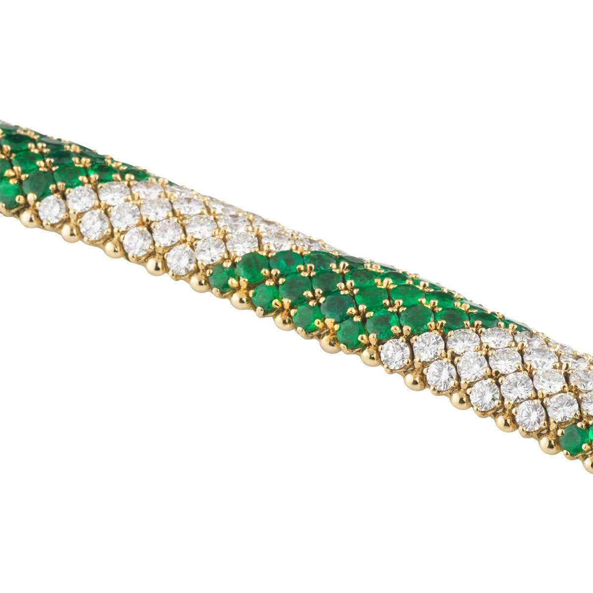Yellow Gold Diamond and Emerald Jewellery Suite